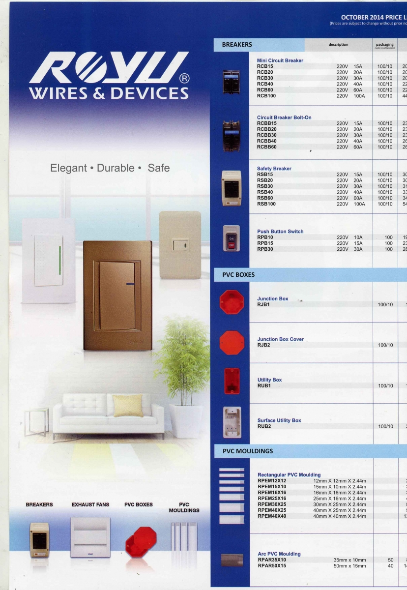 Royu Wiring Diagram Of A 2 Gang Light Switch Wires And Devices Authorized Dealer Supplier Distributor